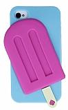 Eiroo iPhone 4 / 4S Mavi Dondurma Silikon K�l�f