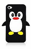 iPhone 4 / 4S Penguen Siyah Silikon Kılıf