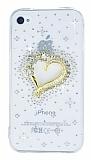 iPhone 4 / 4S Ta�l� Kalp �effaf Silikon K�l�f