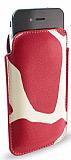 iPhone 4 / iPhone 4S Desenli Kırmızı Deri Kılıf