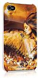 iPhone 4 / iPhone 4S White Diamonds Angel Taşlı Gold Kılıf