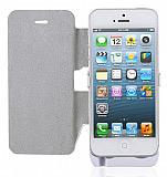 iPhone 5 / 5S / 5C Bataryal� Kapakl� Beyaz K�l�f