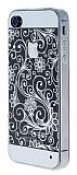 iPhone 4 / 4S �i�ek Desenli Ultra �nce Beyaz Silikon K�l�f