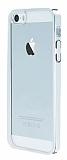 iPhone 5 / 5S Silver Kenarl� �effaf Rubber K�l�f