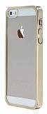 iPhone 5 / 5S Gold Kenarl� �effaf Rubber K�l�f