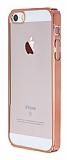 iPhone 5 / 5S Rose Gold Kenarl� �effaf Rubber K�l�f