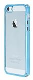 iPhone SE / 5 / 5S Mavi Kenarlı Şeffaf Rubber Kılıf