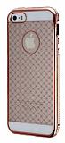 iPhone 5 / 5S Rose Gold Metal Kenarl� Desenli Kristal K�l�f