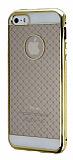 iPhone 5 / 5S Gold Metal Kenarl� Desenli Kristal K�l�f