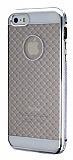 iPhone 5 / 5S Silver Metal Kenarl� Desenli Kristal K�l�f