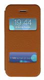 iPhone 5 / 5S Gold Metal Kenarl� �ift Pencereli Kahverengi K�l�f