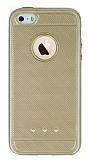 iPhone SE / 5 / 5S Metalik Noktal� Gold Silikon K�l�f