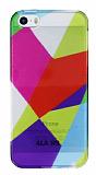 iPhone 5 / 5S Renkli Prizma �effaf Silikon K�l�f