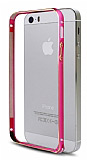 iPhone 5 / 5S Round Metal Bumper �er�eve Pembe K�l�f