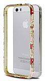 iPhone 5 / 5S Seramik Ta�l� Metal Bumper �er�eve Pembe K�l�f