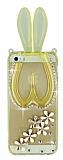 iPhone 5 / 5S Ta�l� Tav�an Standl� �effaf Gold Silikon K�l�f