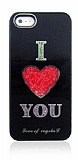 iPhone SE / 5 / 5S Love Crystal Siyah Sert Rubber K�l�f