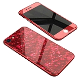 iPhone 6 / 6S 360 Derece Koruma Desenli Manyetik Cam Kırmızı Kılıf
