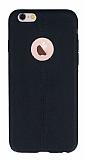 iPhone 6 / 6S Deri Desenli Ultra İnce Siyah Silikon Kılıf