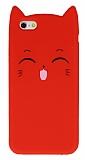 iPhone 6 / 6S Kedili Kırmızı Silikon Kılıf