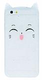 iPhone 6 / 6S Kedili Simli Beyaz Silikon Kılıf