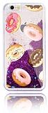 iPhone 6 / 6S Simli Sulu Donut Mor Silikon Kılıf