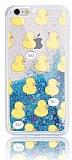 iPhone 6 / 6S Simli Sulu Ördek Resimli Mavi Silikon Kılıf