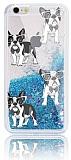 iPhone 6 / 6S Simli Sulu Köpek Resimli Mavi Silikon Kılıf