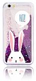 iPhone 6 / 6S Simli Sulu Tavşan Mor Silikon Kılıf