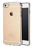 iPhone 6 Plus / 6S Plus Silver Çerçeveli Şeffaf Silikon Kılıf