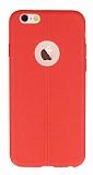 iPhone 6 Plus / 6S Plus Deri Desenli Ultra İnce Kırmızı Silikon Kılıf