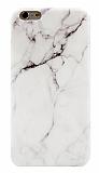 iPhone 6 Plus / 6S Plus Granit Görünümlü Beyaz Silikon Kılıf