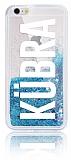 iPhone 6 Plus / 6S Plus Kişiye Özel Simli Sulu Mavi Rubber Kılıf