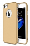iPhone 6 Plus / 6S Plus Metal Kamera Korumalı Gold Silikon Kılıf