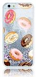 iPhone 6 Plus / 6S Plus Simli Sulu Donut Resimli Silver Silikon Kılıf