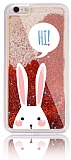 iPhone 6 Plus / 6S Plus Simli Sulu Tavşan Kırmızı Silikon Kılıf