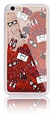 iPhone 6 Plus / 6S Plus Simli Sulu Fashion Kırmızı Silikon Kılıf