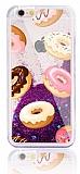 iPhone 6 Plus / 6S Plus Simli Sulu Donut Mor Silikon Kılıf