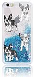 iPhone 6 Plus / 6S Plus Simli Sulu Köpekli Mavi Silikon Kılıf