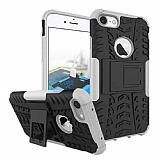 iPhone 6 Plus / 6S Plus Ultra Süper Koruma Standlı Beyaz Kılıf