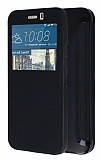 HTC One M9 Pencereli �nce Yan Kapakl� Siyah K�l�f