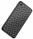 iPhone 7 / 8 Hasır Desenli Siyah Silikon Kılıf