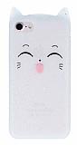 iPhone 7 / 8 Kedili Simli Beyaz Silikon Kılıf
