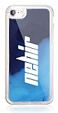 iPhone 7 / 8 Kişiye Özel Neon Kumlu Lacivert Silikon Kılıf