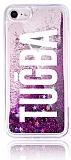 iPhone 7 / 8 Kişiye Özel Simli Sulu Mor Rubber Kılıf