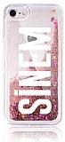 iPhone 7 / 8 Kişiye Özel Simli Sulu Rose Gold Rubber Kılıf