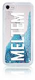 iPhone 7 / 8 Kişiye Özel Simli Sulu Mavi Rubber Kılıf