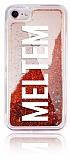 iPhone 7 / 8 Kişiye Özel Simli Sulu Kırmızı Rubber Kılıf