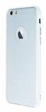 iPhone 6 / 6S Metal Tuşlu Beyaz Silikon Kenarlı Şeffaf Kılıf