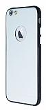 iPhone 6 / 6S Metal Tuşlu Silikon Siyah Kenarlı Şeffaf Kılıf